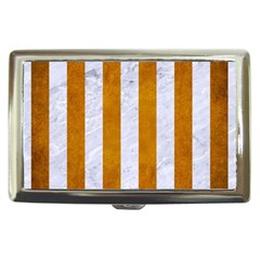 Stripes1 White Marble & Yellow Grunge Cigarette Money Cases by trendistuff
