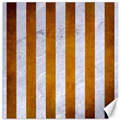 Stripes1 White Marble & Yellow Grunge Canvas 12  X 12   by trendistuff