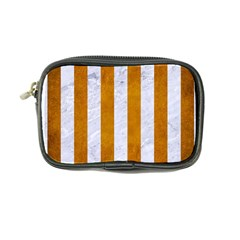Stripes1 White Marble & Yellow Grunge Coin Purse by trendistuff