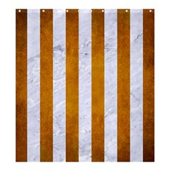 Stripes1 White Marble & Yellow Grunge Shower Curtain 66  X 72  (large)  by trendistuff
