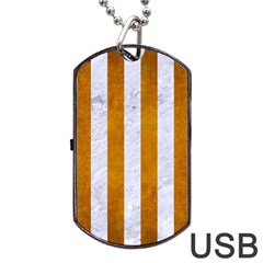 Stripes1 White Marble & Yellow Grunge Dog Tag Usb Flash (one Side) by trendistuff