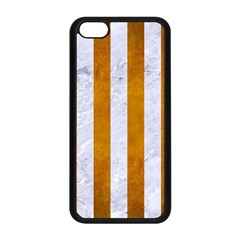 Stripes1 White Marble & Yellow Grunge Apple Iphone 5c Seamless Case (black) by trendistuff
