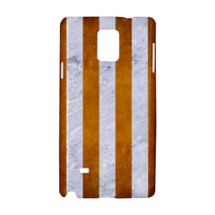 Stripes1 White Marble & Yellow Grunge Samsung Galaxy Note 4 Hardshell Case by trendistuff
