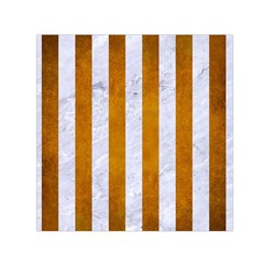 Stripes1 White Marble & Yellow Grunge Small Satin Scarf (square) by trendistuff
