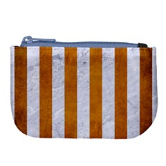 Stripes1 White Marble & Yellow Grunge Large Coin Purse by trendistuff