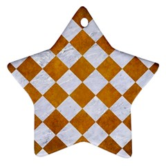 Square2 White Marble & Yellow Grunge Ornament (star) by trendistuff