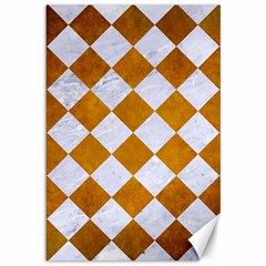 Square2 White Marble & Yellow Grunge Canvas 12  X 18   by trendistuff
