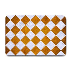 Square2 White Marble & Yellow Grunge Small Doormat  by trendistuff