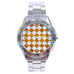 Square2 White Marble & Yellow Grunge Stainless Steel Analogue Watch by trendistuff