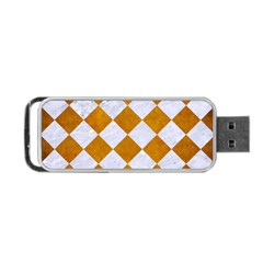 Square2 White Marble & Yellow Grunge Portable Usb Flash (one Side) by trendistuff