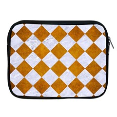 Square2 White Marble & Yellow Grunge Apple Ipad 2/3/4 Zipper Cases by trendistuff