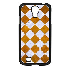 Square2 White Marble & Yellow Grunge Samsung Galaxy S4 I9500/ I9505 Case (black) by trendistuff