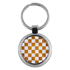 Square1 White Marble & Yellow Grunge Key Chains (round)  by trendistuff