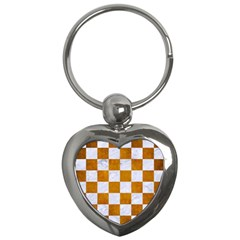 Square1 White Marble & Yellow Grunge Key Chains (heart)  by trendistuff