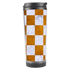 Square1 White Marble & Yellow Grunge Travel Tumbler by trendistuff