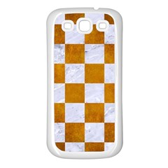 Square1 White Marble & Yellow Grunge Samsung Galaxy S3 Back Case (white) by trendistuff