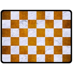Square1 White Marble & Yellow Grunge Double Sided Fleece Blanket (large)  by trendistuff