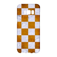 Square1 White Marble & Yellow Grunge Samsung Galaxy S8 Hardshell Case  by trendistuff
