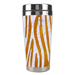 Skin4 White Marble & Yellow Grunge (r) Stainless Steel Travel Tumblers by trendistuff