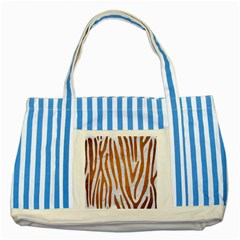Skin4 White Marble & Yellow Grunge Striped Blue Tote Bag by trendistuff