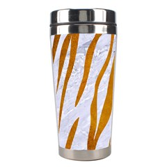 Skin3 White Marble & Yellow Grunge (r) Stainless Steel Travel Tumblers by trendistuff
