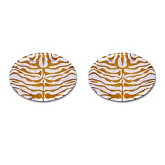 Skin2 White Marble & Yellow Grunge (r) Cufflinks (oval) by trendistuff