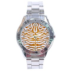 Skin2 White Marble & Yellow Grunge (r) Stainless Steel Analogue Watch by trendistuff
