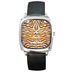 Skin2 White Marble & Yellow Grunge Square Metal Watch by trendistuff
