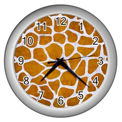 Skin1 White Marble & Yellow Grunge (r) Wall Clocks (silver)  by trendistuff