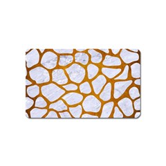 Skin1 White Marble & Yellow Grunge Magnet (name Card) by trendistuff