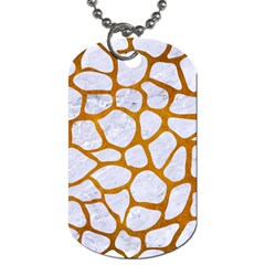 Skin1 White Marble & Yellow Grunge Dog Tag (two Sides) by trendistuff