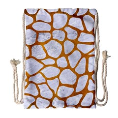 Skin1 White Marble & Yellow Grunge Drawstring Bag (large)