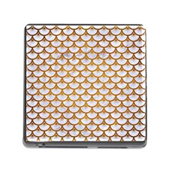 Scales3 White Marble & Yellow Grunge (r) Memory Card Reader (square) by trendistuff