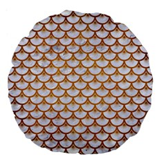 Scales3 White Marble & Yellow Grunge (r) Large 18  Premium Flano Round Cushions by trendistuff