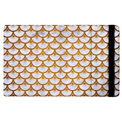 Scales3 White Marble & Yellow Grunge (r) Apple Ipad Pro 12 9   Flip Case