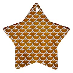 Scales3 White Marble & Yellow Grunge Star Ornament (two Sides) by trendistuff