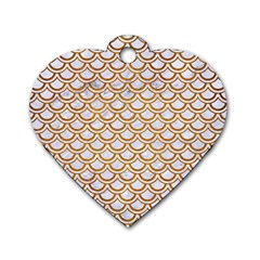 Scales2 White Marble & Yellow Grunge (r) Dog Tag Heart (two Sides) by trendistuff