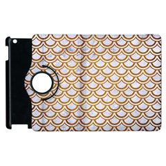 Scales2 White Marble & Yellow Grunge (r) Apple Ipad 3/4 Flip 360 Case by trendistuff