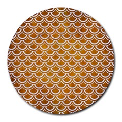SCALES2 WHITE MARBLE & YELLOW GRUNGE Round Mousepads