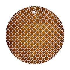 SCALES2 WHITE MARBLE & YELLOW GRUNGE Ornament (Round)