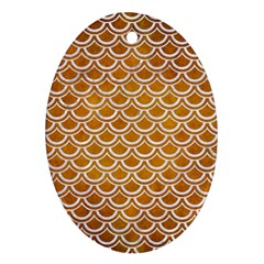 SCALES2 WHITE MARBLE & YELLOW GRUNGE Ornament (Oval)