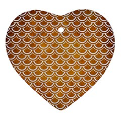 SCALES2 WHITE MARBLE & YELLOW GRUNGE Ornament (Heart)