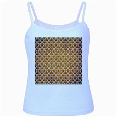 SCALES2 WHITE MARBLE & YELLOW GRUNGE Baby Blue Spaghetti Tank