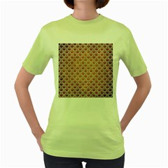 SCALES2 WHITE MARBLE & YELLOW GRUNGE Women s Green T-Shirt