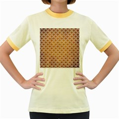 SCALES2 WHITE MARBLE & YELLOW GRUNGE Women s Fitted Ringer T-Shirts