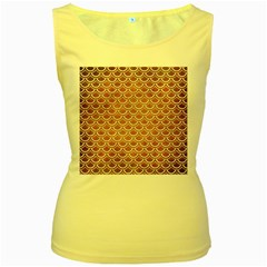 SCALES2 WHITE MARBLE & YELLOW GRUNGE Women s Yellow Tank Top