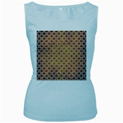 SCALES2 WHITE MARBLE & YELLOW GRUNGE Women s Baby Blue Tank Top