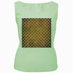 SCALES2 WHITE MARBLE & YELLOW GRUNGE Women s Green Tank Top