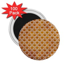 SCALES2 WHITE MARBLE & YELLOW GRUNGE 2.25  Magnets (100 pack)