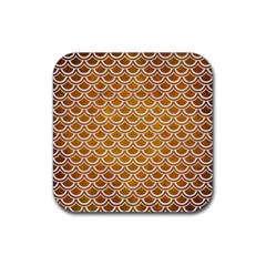 SCALES2 WHITE MARBLE & YELLOW GRUNGE Rubber Coaster (Square)